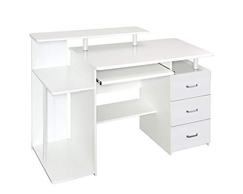 hjh OFFICE 674390 Büro Schreibtisch Stella Weiß Computertisch mit Schubladen & Tastaturauszug 89 x 137 x 60 cm