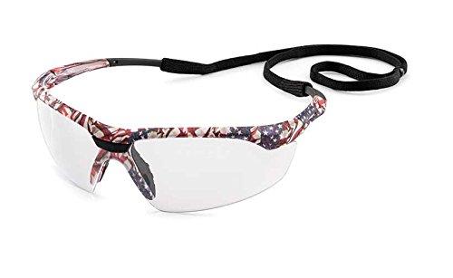Gateway Safety 28USX9 Conqueror Wraparound Eye Safety Glasses, Clear FX3 Premium Anti-Fog Lens, Old Glory Camo Frame