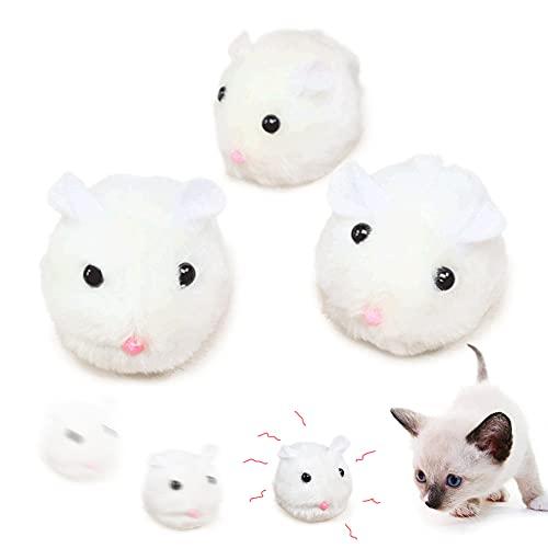 3 pezzi Set di Topi Giocattoli per Gatti Kitten, Gioco per Gatto Che si Muove A Forma di Topino, Giocattolo Interattivo Topolini per Gatto Pelosi, Bianco