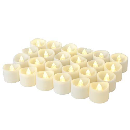 LED Kerzen, Linkbro LED Tee Lichter flammenlose Kerzen mit Timer, Automatikmodus: 6 Stunden an und 18 Stunden aus, 3.2x3.6 cm, [24 Stück, Warm-weiß]