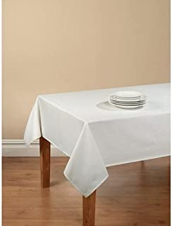 Mainstays Hyde Tablecloth with Table Protector, 70 Round, White