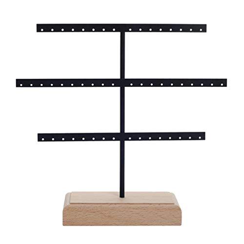 Cabilock Organizador colgante de hierro de 3 niveles para colgar pendientes y mesa, soporte para collares, organizador de joyas, pendientes con 52 agujeros (negro)