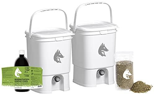 FairFox Bokashi - Juego completo de 2 cubos de compostador de 19 L (100% plástico reciclado), 1 kg...