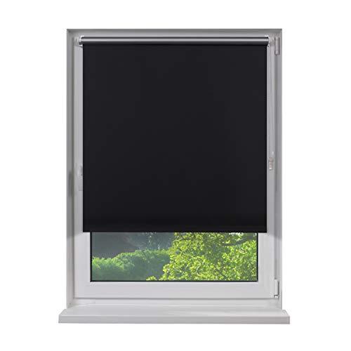 Fensterdecor Klemmfix Mini Verdunkelungs-Rollo, Thermo-Rollo inkl. Klemm-Träger, Sonnenschutz-Rollo ohne Bohren in Schwarz, mit Hitze- und Kälte-Schutz, 40 x 160 cm