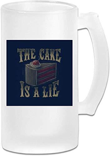 Taza de cristal esmerilado impresa de 16 oz – Portal The Cake is A Lie – Taza gráfica