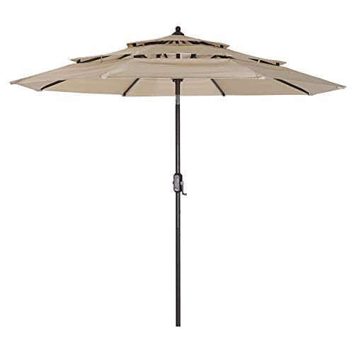 9ft 3 Stories Patio Umbrellas, Center Pillar Parasol, Wind Resistant UV Protection for Sand Heavy Duty Beach Garden Outdoor with Push Button Tilt for Garden, Lawn & Pool (Off White)