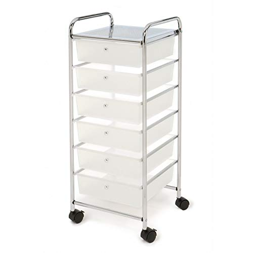 Saying Multi-Layer Debris Storage Finishing Box, Stainless Steel Utility Frame Small Cart With Wheels, 6 Layer Drawer Storage Cart For Kitchen, Office, Bathroom - 13x15x24.8in [Ship from USA Directly]