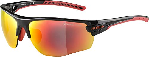 ALPINA Unisex - Erwachsene, TRI-SCRAY 2.0 HR Sportbrille, black-red, One Size