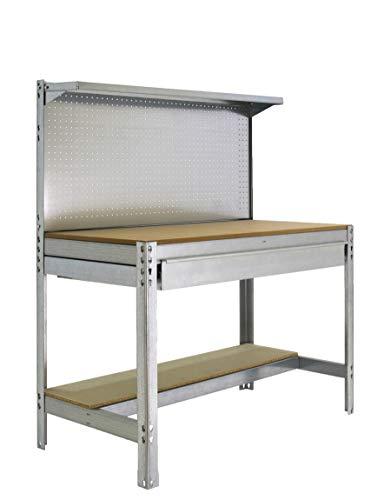 Banco de trabajo BT3 con cajón Simonwork Galva/Madera Simonrack 1445x1210x610 mms - Mesa de trabajo - Banco para taller 600 Kgs de capacidad por estante
