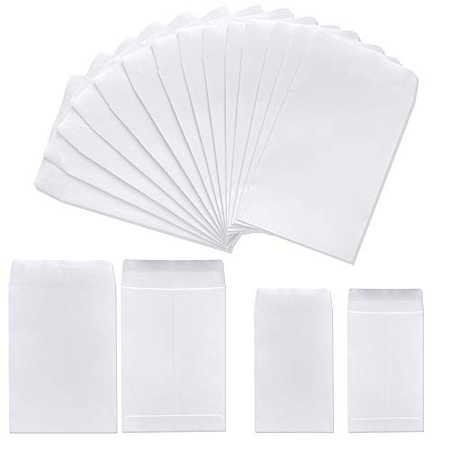 200 Pack Self-Adhesive Small Parts Pockets Envelopes Kraft Self Sealing Seed Envelopes Coin Stamps Storage for Home, Garden, Wedding or Office, 2 Size(2.25'×3.5'/3.23'×4.53') (White)