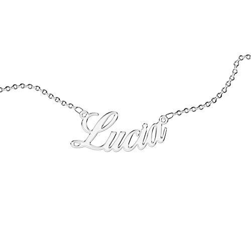 Collar Personalizado, para Mujer, con Nombre. Use su nombre. Acero inoxidable e hipoalergénico. Color plata. Diseñado en Italia. (Lucia)