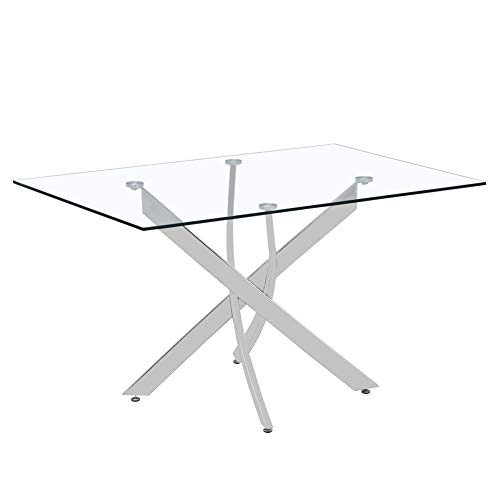 GOLDFAN Rectangular Glass Dining Table Modern Design 120cm Kitchen Table With Chromed Legs For Dining Room Living Room Office