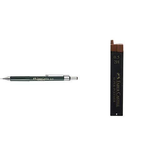 Faber-Castell 9715 - Portaminas + B-9065-2H - Blíster tubo de 12 minas,...