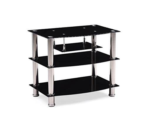 Hodedah Four Shelve Tempered Glass TV Stand, Accommodates TV's up to 32', Black