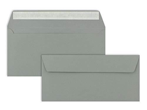 100 Brief-Umschläge DIN Lang - Graphitgrau/Dunkelgrau - 110 g/m² - 11 x 22 cm - sehr formstabil - Haftklebung - Qualitätsmarke: FarbenFroh by GUSTAV NEUSER®