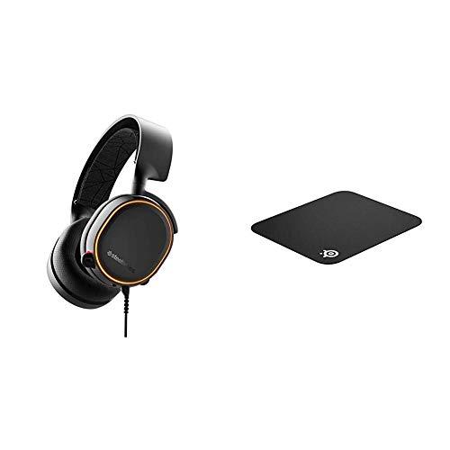 【セット買い】密閉型 ゲーミングヘッドセット SteelSeries Arctis 5 Black (2019 Edition) 61504 & 【国内正規品】SteelSeries QcK mini マウスパッド 63005