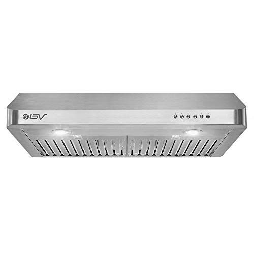 BV Range Hood - 30 Inch 750 CFM Under Cabinet Seamless Stainless Steel Kitchen Range Hoods, Dishwasher Safe Baffle Filters w/LED Lights, Ducted Kitchen Exhaust Fan Hood