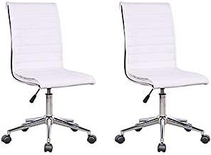Conjunto com 2 Cadeiras de Escritório Diretor Giratória Marilyn Plus Branco - UN
