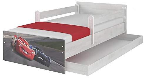 Cuna infantil original de Disney con protección anticaídas, cajón y colchón (80 x 160, Cars 3 - Storm)