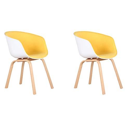 GroBKau, set di 2 poltrone in tessuto scandinavo poltrone laterali per studio, per soggiorno, cucina, sala riunioni, caffè, ecc. giallo, (gambe in metallo)