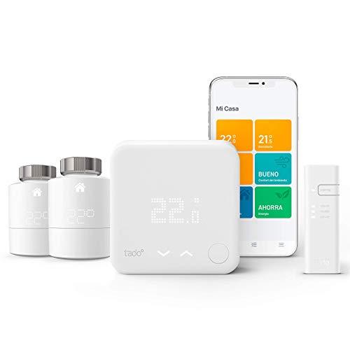 Tado V3+ - Kit de inicio, termostato inteligente con dos cabezales termostáticos adicionales para control de múltiples habitaciones, funciona con Amazon Alexa, HomeKit de Apple y Asistente de Google