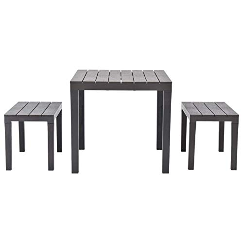 QWSX Simple design 3pcs Garden Table with 2 Benches Brown Weather Resistant Outdoor Table for Garden Patio Balcony Garden Furniture Durable (Color : Brown)