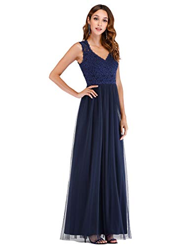 Ever-Pretty Damen Frauen A-Linie Abendkleid Spitzenkleid Navy blau 46