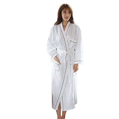 YCDZSW Waffle Length Robe Bathrobes para Mujer Hombre, Bata de algodón, Chal cálido, Albornoz Absorbente,Delgado y Ligero para SPA Bañarse (XL)