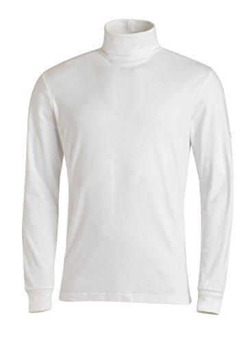 Medico Herren Ski Shirt, 48, Weiss, 100% Baumwolle, Langarm, Rollkragen