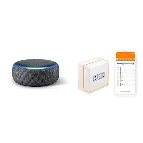 Echo Dot (3. Gen.) + Netatmo Thermostat Connecté et Intelligent pour Chaudière Individuelle, NTH01-FR-EC