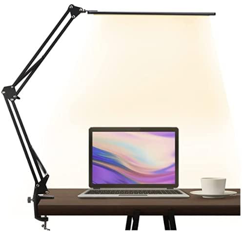 Lampada da tavolo LED, Lampada da architetto con braccio orientabile, funzione di memoria e connessione USB, 3 temperature di colore e 10 livelli di luminosità per leggere, lavorare, imparare, 12W
