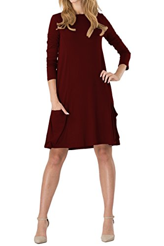 YMING Damen Looses Kleid Langarm Langes Shirt Übergröße Strickkleid Casual Tops,Burgundy,XXL/DE 44-46