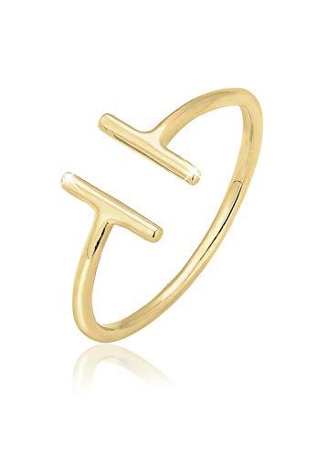 Elli Damen Ring Geo Déclaration, Gelbgold, 56 (17.8), 0610491915_56