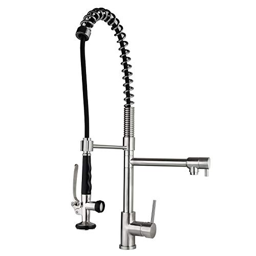 Homary Commercial Pull Down Stainless Steel Kitchen Sink Faucet with Pre-Rinse Spring Sprayer Lead Free, Brushed Nickel Farmhouse Kitchen Faucet with Deck Plate