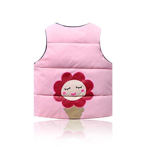 Kinderen Roze Down Katoen Vest Roze Warm Vest Bloem Print Children's Mouwloos Warm Vest Jongen Meisje 2-6 Jaar Oud