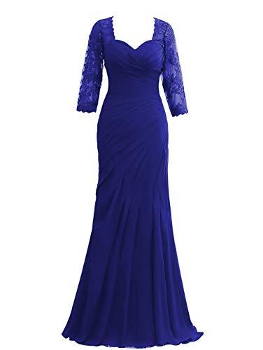 HUINI Damen Elegant Ballkleid Chiffon Lang Hochzeitskleid Meerjungfrau Abendkleid Festkleider Vintage Standesamtkleider Königsblau 32