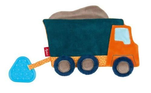 SIGIKID Mädchen und Jungen, Knister-Schnuffeltuch LKW, Baby-Aktivspielzeug mit Beißring, empfohlen ab 0 Monaten, blau/orange, 42434