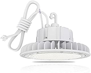 HYPERLITE LED High Bay Light 100W 5000K 13,500LM (135lm/w) CRI>80 1-10V Dimmable 5' Cable with 110V Plug Hanging Hook Safe Rope UL/DLC Approved for Workshop Gym Warehouse