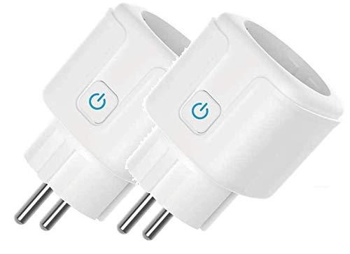 GoKlug - Enchufe wifi Alexa, enchufe inteligente, temporizador digital, contador de corriente, enchufe wifi, conmutable, compatible con Alexa, Google Home, control por smartphone (2 unidades modelo A)
