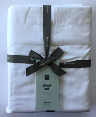 West Elm 400 Thread Count Organic Cotton Percale Sheet Set ~Queen~White~