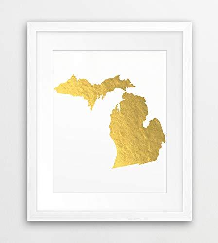 Michigan State Map Print USA State Michigan Silhouette Gold Foil Modern Wall Art Home Office Decor Digitale Printable Art Downloadbaar
