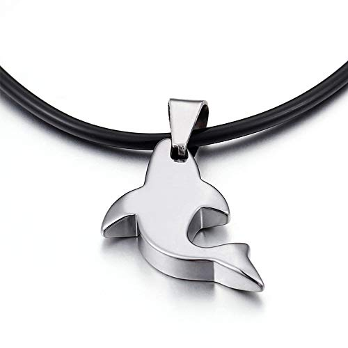 Roestvrij staal Dolphin Ketting, Retro Leather Cord Charm Choker Ketting voor Unisex Gift