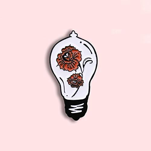 ZSCZQ Insignia Elegante de Moda de Dibujos Animados Rosa Flor Bombilla Metal Esmalte Broche Moda Glamour Disfraz Mochila joyería Regalo para Amigos