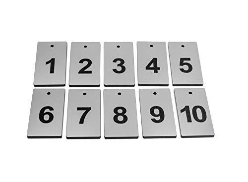 OriginDesigned Schlüsselanhänger, Schlüsselanhänger, 10, Silber, rechteckig, gravierte Zahlen, für Hotels, Pensionen, B&Bs, Unternehmen