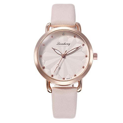 Uhr Armbanduhren Männer Damenuhren Hansee Damen Blatt Mode Gürtel Uhr Studentin Quarzuhr Watch Uhren Herrenuhr(Beige)