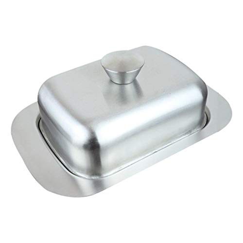 HOUHOU Edelstahl Butter Teller Käse Brot Aufbewahrung Butter Tablett mit Durchsehen Deckel Butter Käse Spülkasten Behälter für Zuhause Butterdose (Color : A)