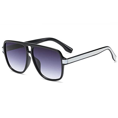 XDOUBAO Gafas de sol Gafas de sol Hombres y mujeres Moda Vuelo casual Ciclismo Gafas de sol Gafas de personalidad-CAJA NEGRO C3 - Pierna plateada Doble película gris