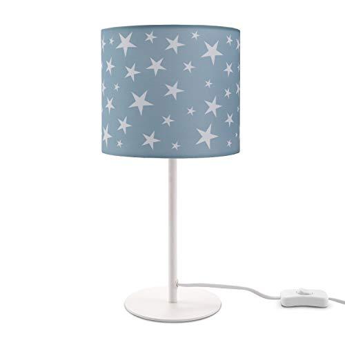 Paco Home Kinderlampe LED Tischlampe Kinderzimmer, Sternen-Motiv, Deko Tischleuchte E14, Lampenfuß:Weiß + Leuchtmittel, Lampenschirm:Turquoise (Ø18 cm)