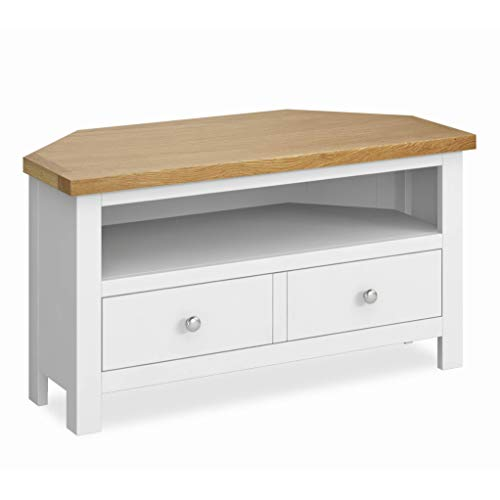 Farrow White Corner TV Unit | 90 cm Painted Solid Wood Light Oak Top Television Cabinet Stand Suitable for TVs up to 40 inches for Living Room or Bedroom, Fully Assembled