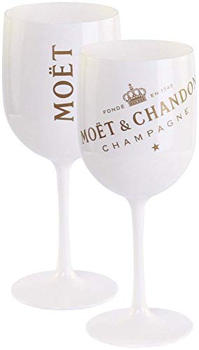 2 x Moët & Chandon Ice Imperial Champagner Acryl-Glas 0.45l Becher Kelch weiss/gold Gläser Set